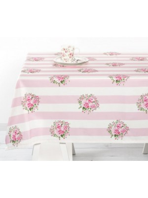 Скатерть Flowers pink stripe 150*150 см